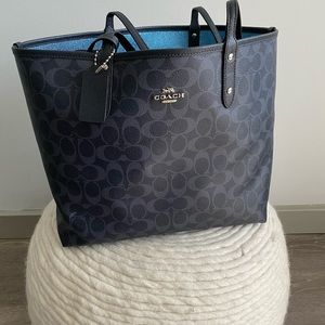 COACH Reversible Tote Bag with attached pouch